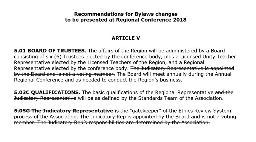 Propsed ByLaw Chgs 2018